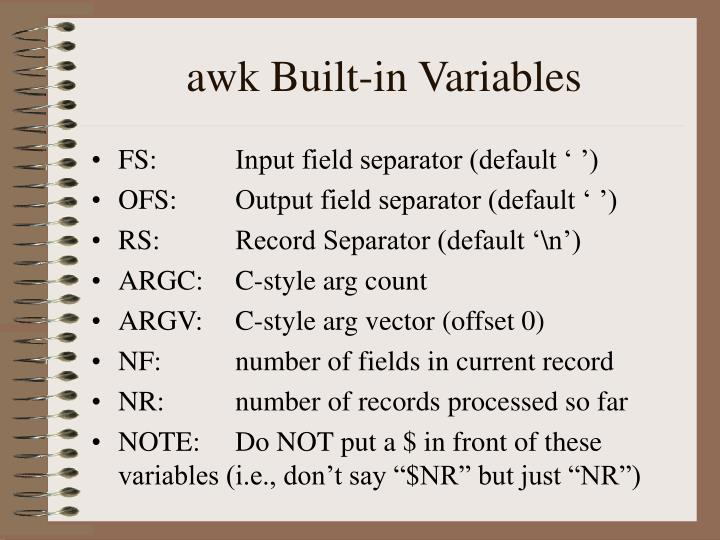 awk Built-in Variables
