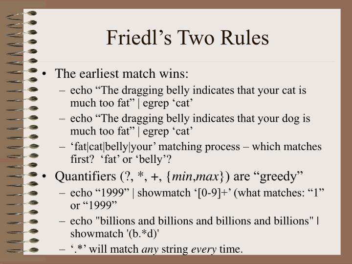 Friedl's Two Rules