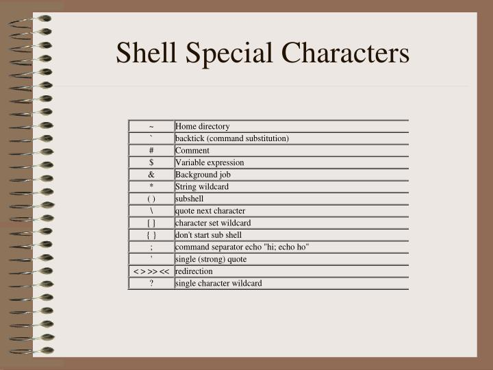 Shell special characters
