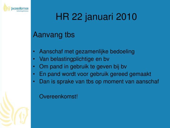 HR 22 januari 2010