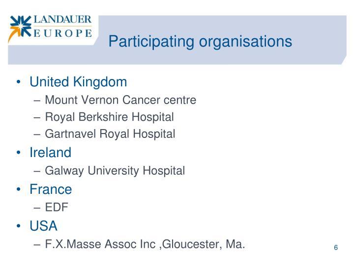 Participating organisations
