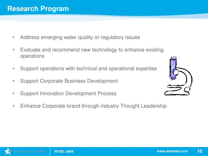 Address emerging water quality or regulatory issues