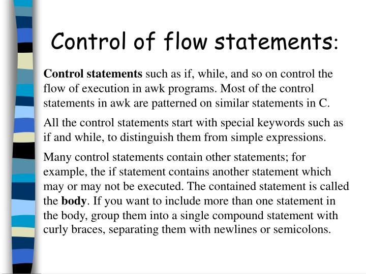 Control of flow statements