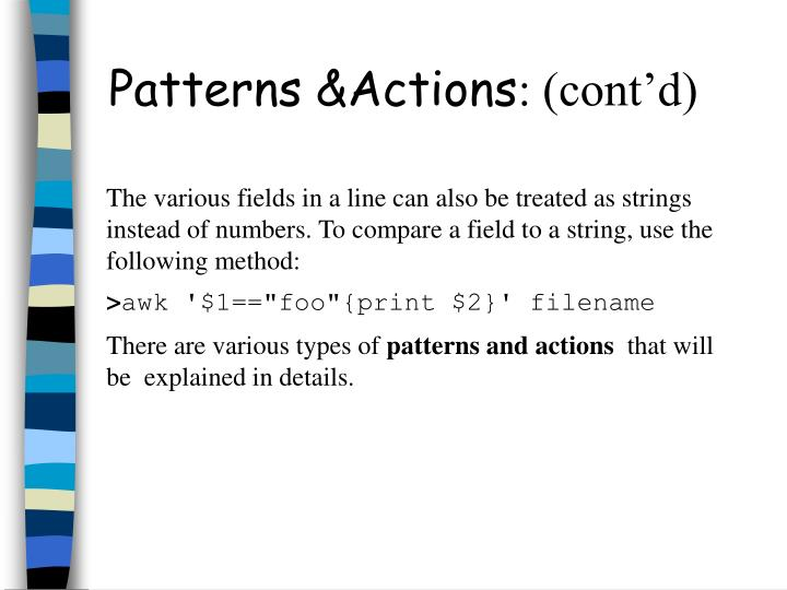 Patterns &Actions