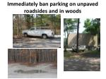 immediately ban parking on unpaved roadsides and in woods