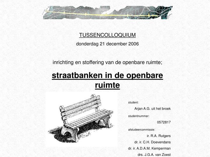 TUSSENCOLLOQUIUM