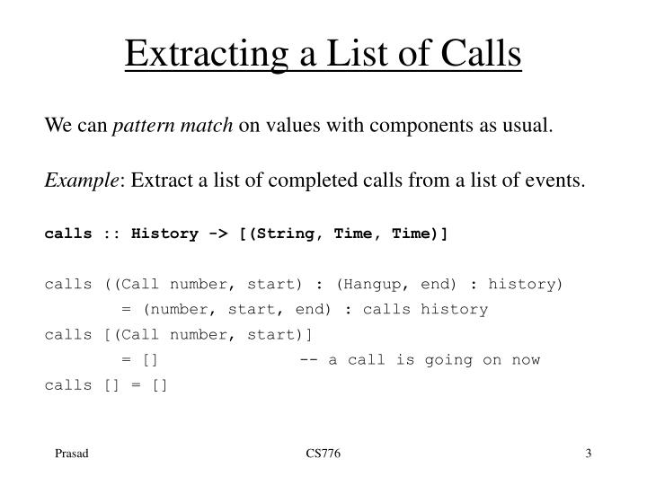 Extracting a list of calls