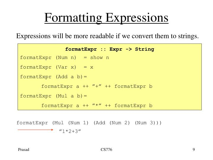 Formatting Expressions