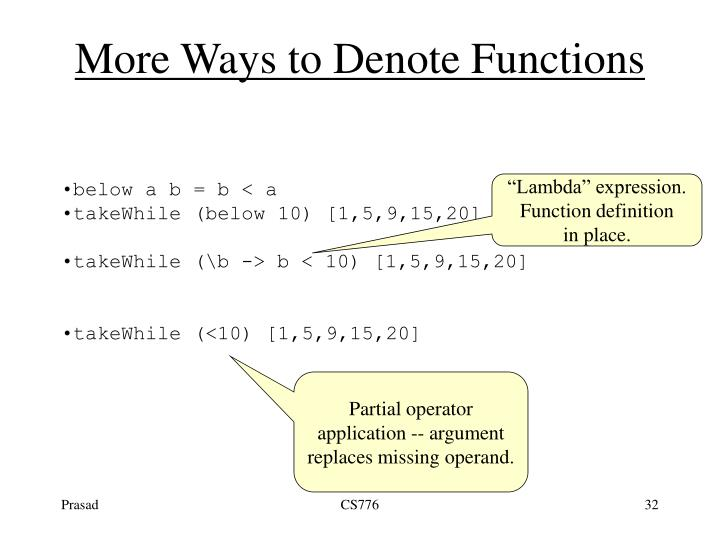 More Ways to Denote Functions