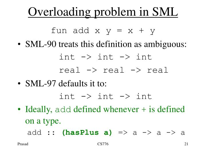 Overloading problem in SML