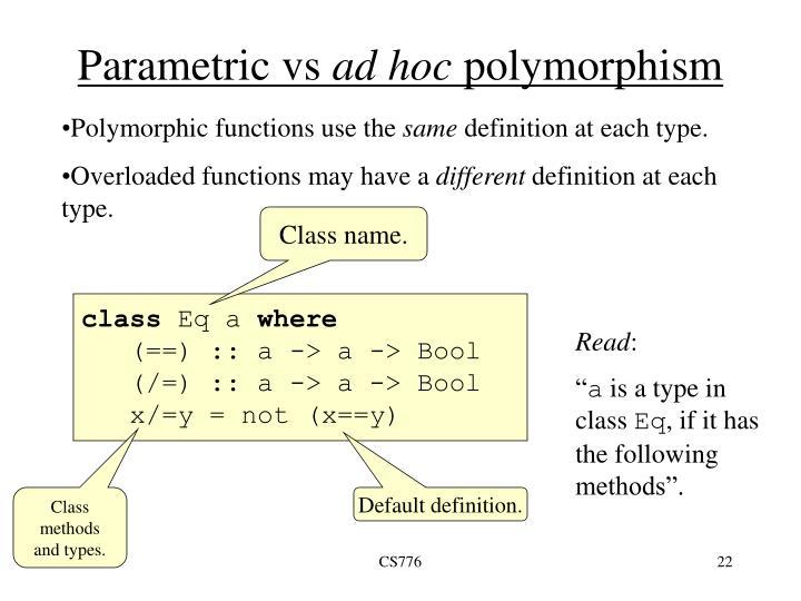Parametric vs