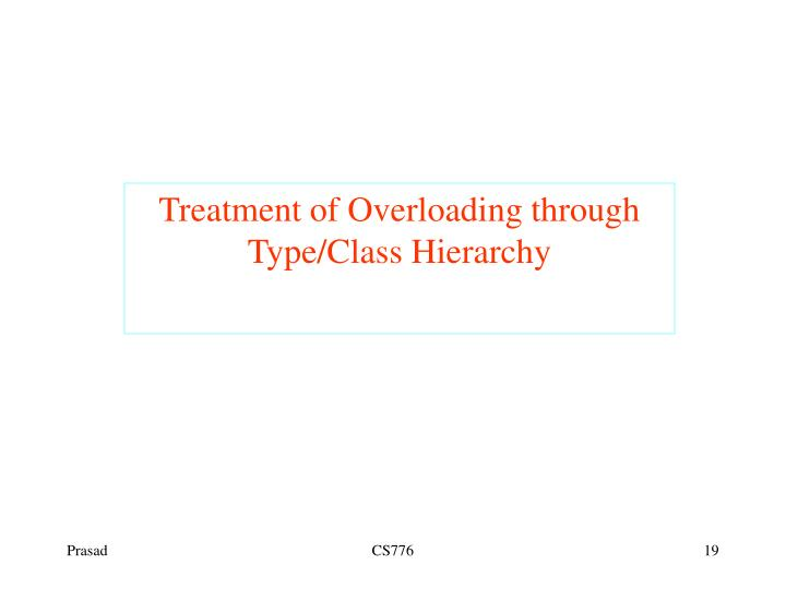 Treatment of Overloading through Type/Class Hierarchy