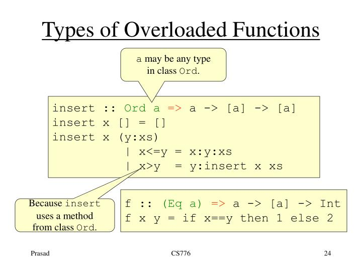 Types of Overloaded Functions