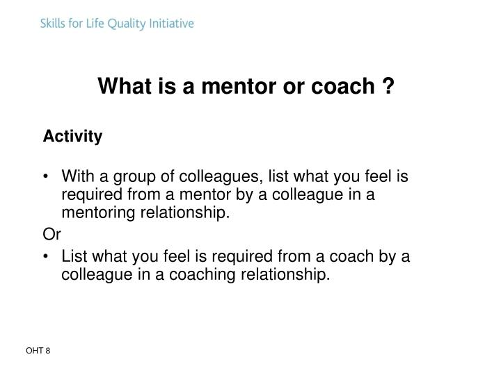 What is a mentor or coach ?