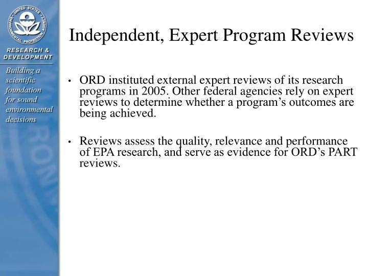 Independent, Expert Program Reviews