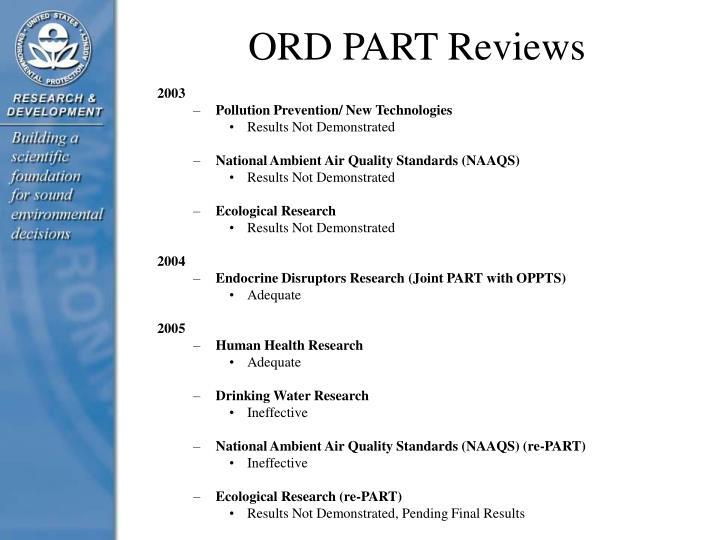 ORD PART Reviews