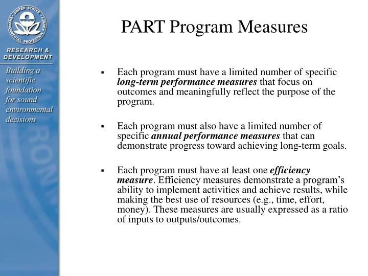 PART Program Measures