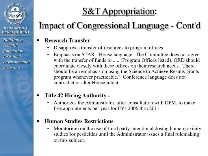 S&T Appropriation