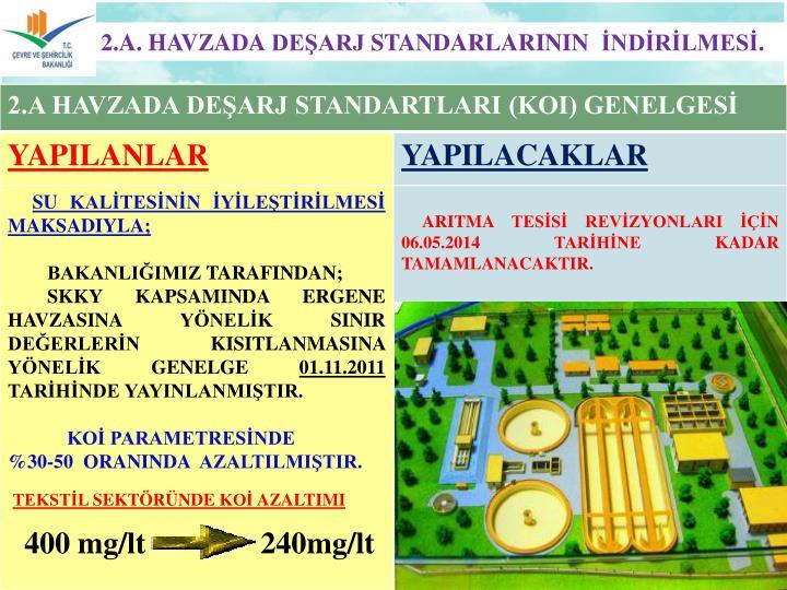 2.A. HAVZADA DEŞARJ STANDARLARININ  İNDİRİLMESİ.