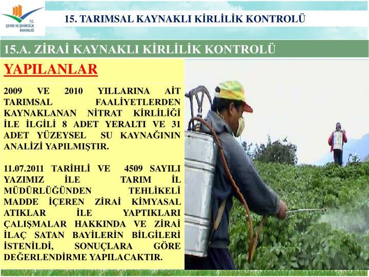 15. TARIMSAL KAYNAKLI KİRLİLİK KONTROLÜ