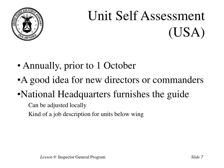 Unit Self Assessment (USA)