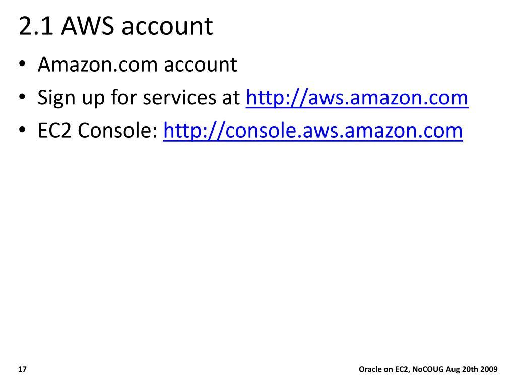 PPT - Running Oracle in EC2 Ahbaid Gaffoor Amazon/A9 PowerPoint