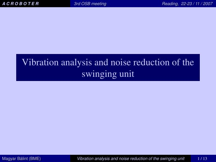 PPT - Vibration analysis and noise reduction of the swinging