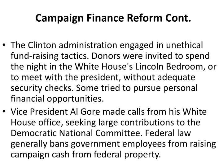 Campaign Finance Reform Cont.
