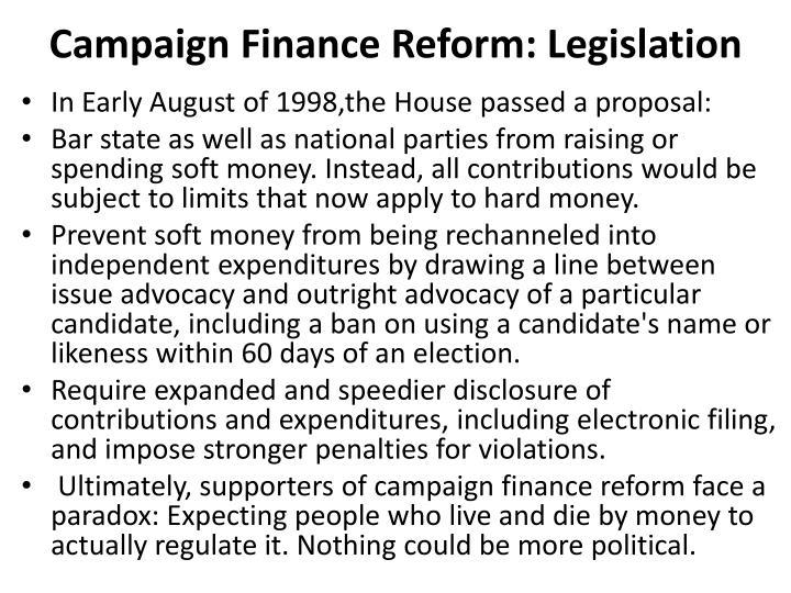Campaign Finance Reform: Legislation