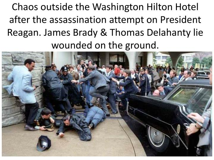 Chaos outside the Washington Hilton Hotel after the assassination attempt on President Reagan. James Brady &Thomas Delahantylie wounded on the ground.