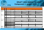 draft 2009 budget awp component 1 pages 20 21