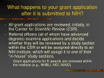 what happens to your grant application after it is submitted to nih