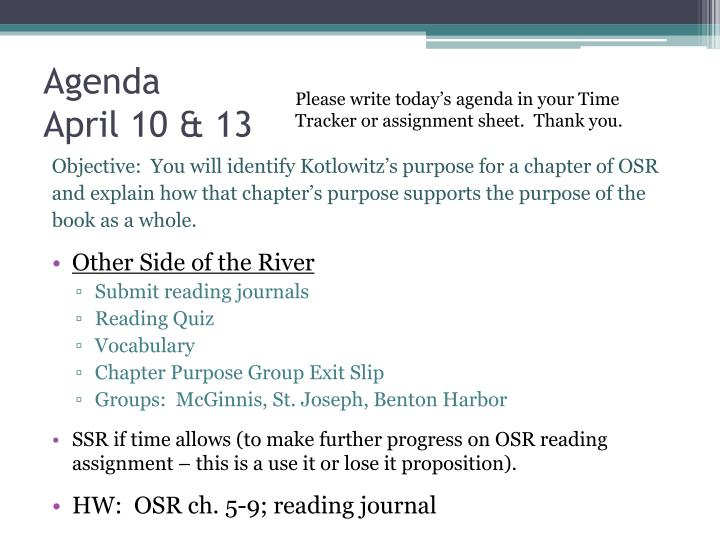 Agenda april 10 13