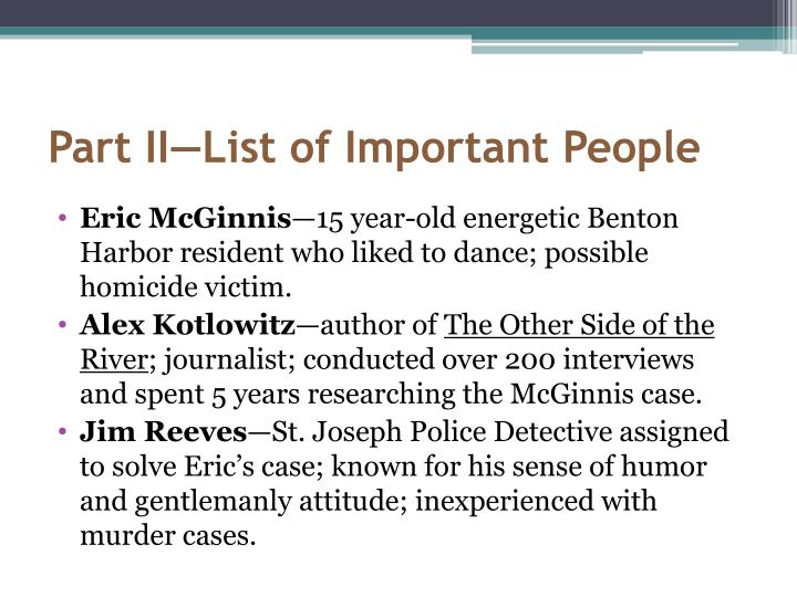 Part II—List of Important People