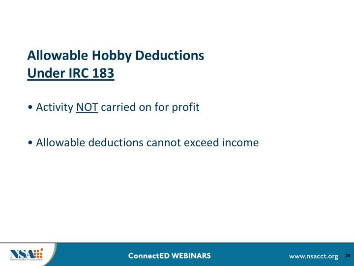 Allowable Hobby Deductions