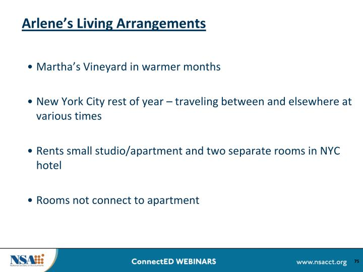 Arlene's Living Arrangements
