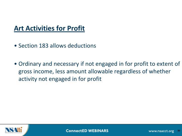 Art Activities for Profit