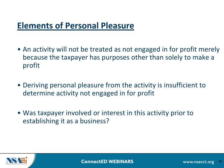 Elements of Personal Pleasure