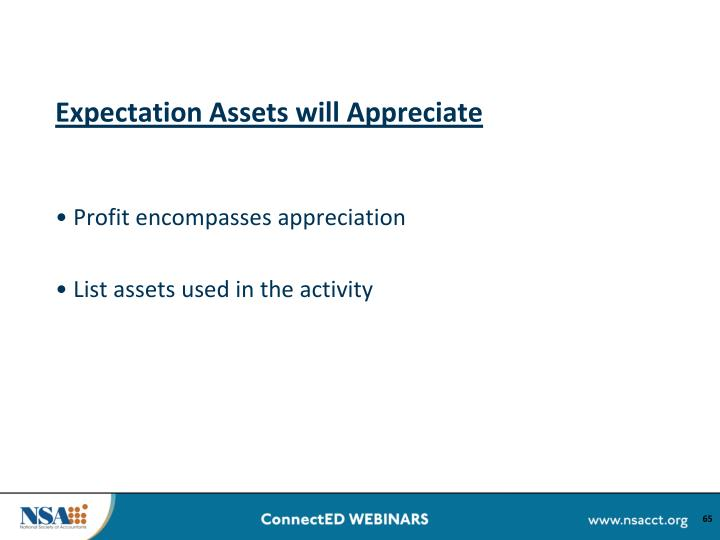 Expectation Assets will Appreciate