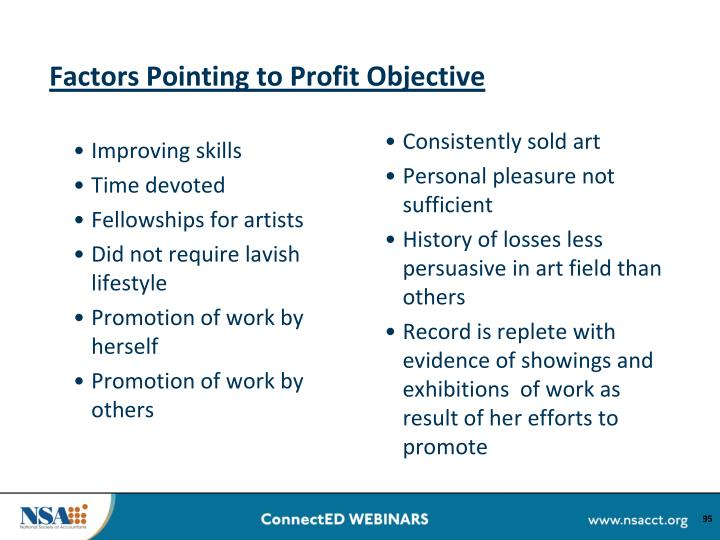 Factors Pointing to Profit Objective