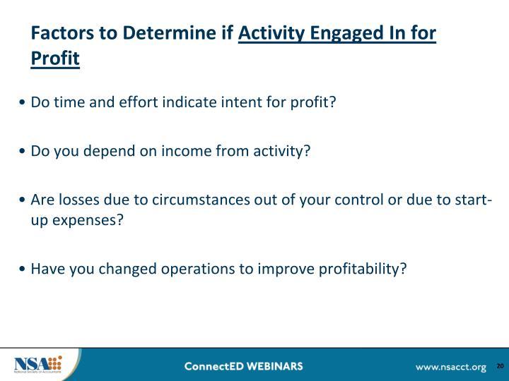 Factors to Determine if