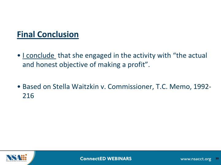 Final Conclusion