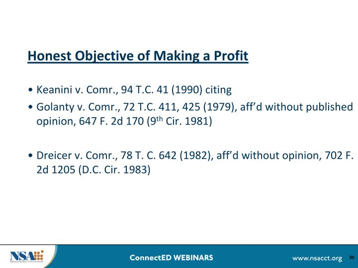 Honest Objective of Making a Profit