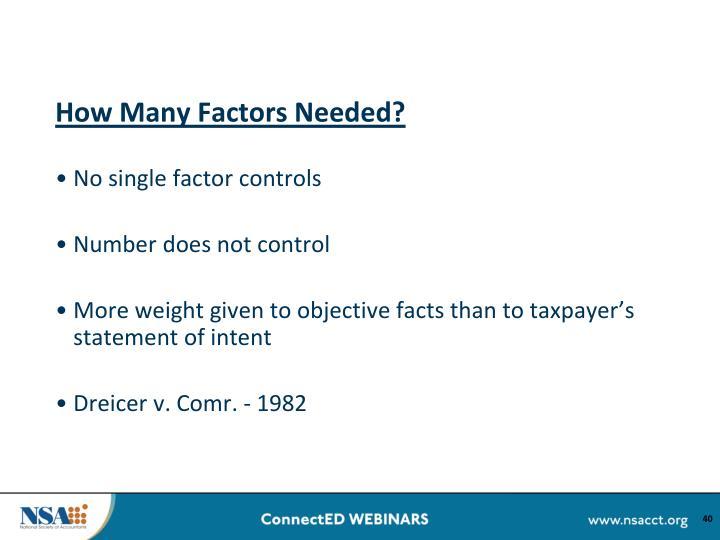 How Many Factors Needed?