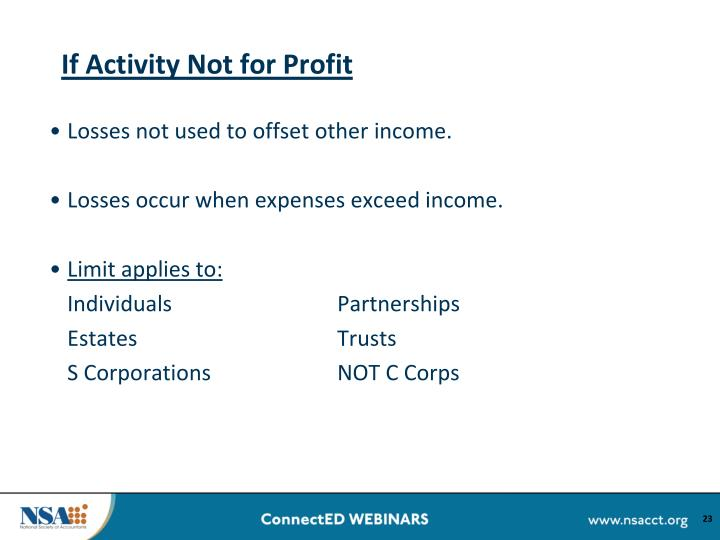 If Activity Not for Profit