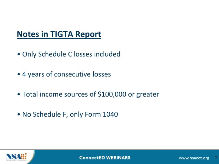 Notes in TIGTA Report