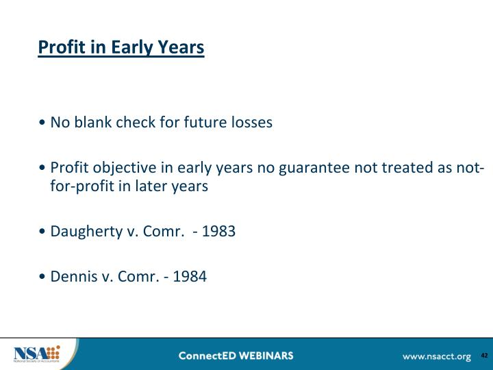 Profit in Early Years