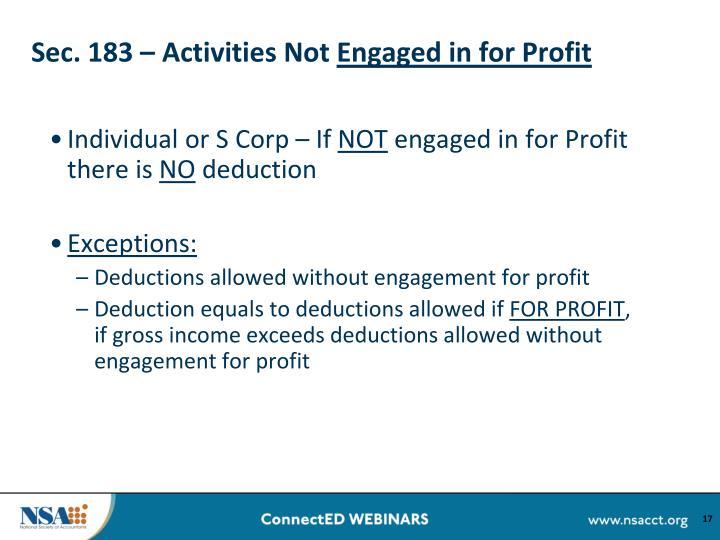 Sec. 183 – Activities Not