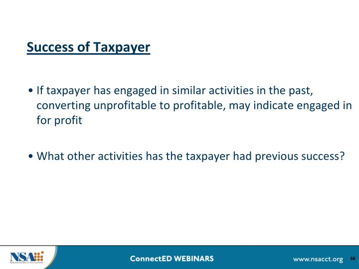 Success of Taxpayer