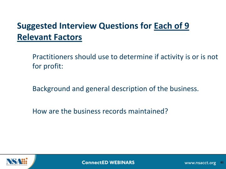 Suggested Interview Questions for